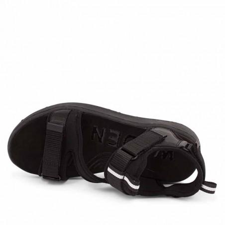 Woden Sandaler, Emilie, Beige, flade sandaler, sandaler med velcroremme, sandaler med komfort i sort set oppefra
