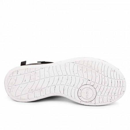 Woden Sandaler, Emilie, Beige, flade sandaler, sandaler med velcroremme, sandaler med komfort i sort sål