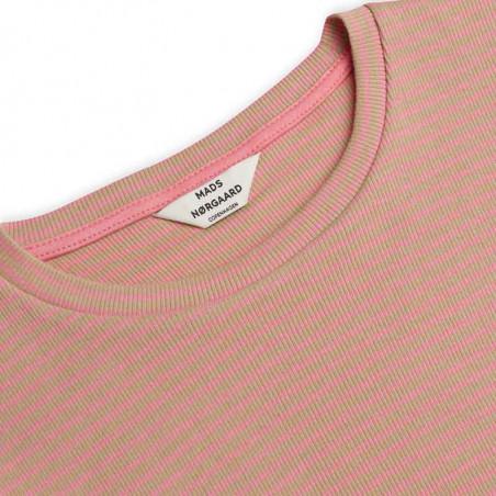 Mads Nørgaard Bluse, Tuba 2x2 Cotton Stripe, Multi Incense , lang ærmet T-shirt, bluse i økologisk bomuld - detalje