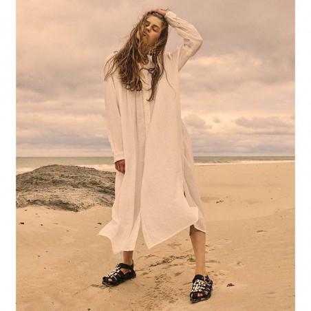 Sissel Edelbo Kjole, Brave Organic Cotton, White, sommerkjole, hverdagskjole, skjortekjole - model