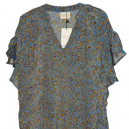 Sissel Edelbo Kjole, Charm Short, Blue Golden, sommerkjole, hverdagskjole, festkjole - print