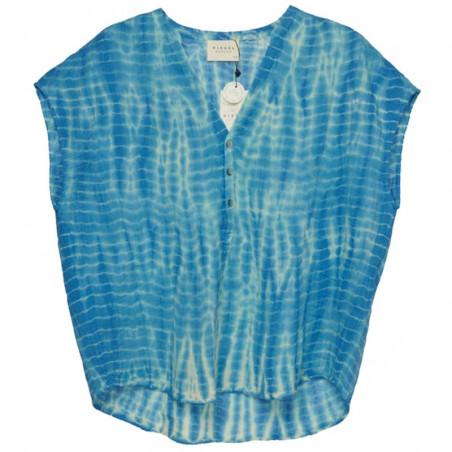 Sissel Edelbo Kjole, Havana Tie Dye, Blue, sommertoppe, bluse, kortærmer bluse