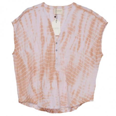 Sissel Edelbo Bluse, Havana Tie Dye, Lavender, bluse med korte ærmer, bluse i økologisk bomuld