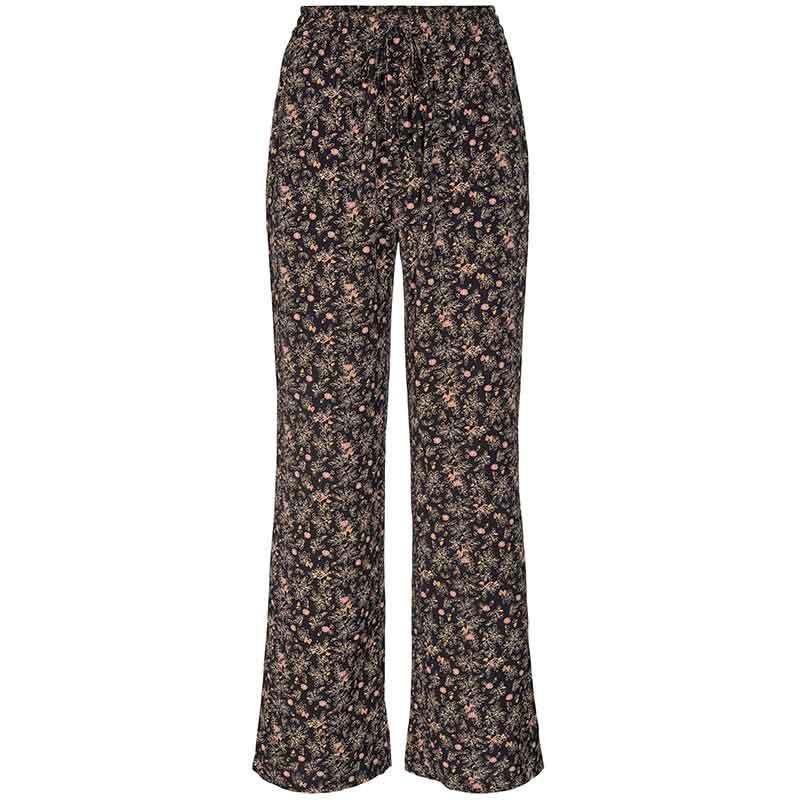 Co'Couture Bukser, Ming Flower, Black, løse bukser, tynde sommerbukser