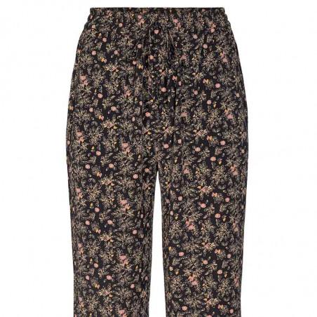 Co'Couture Bukser, Ming Flower, Black, løse bukser, tynde sommerbukser - print