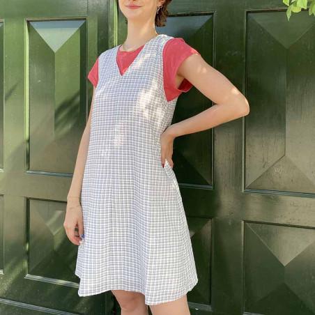 Modström Kjole, Jada, Off White - model, hverdagskjole, sommerkjole, kort kjole med tern
