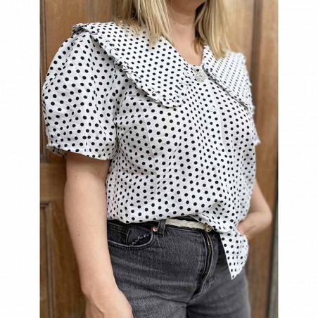 Lollys Laundry Skjorte, Axel, Creme, kortærmet skjorte, hvid skjorte, Lollys Laundry Axel Shirt Skjorte med stor krave