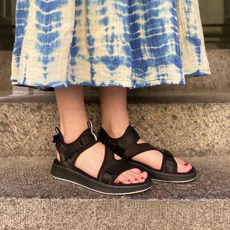 Woden Sandaler, Emilie, Beige, flade sandaler, sandaler med velcroremme, sandaler til remme, sporty sandaler på model