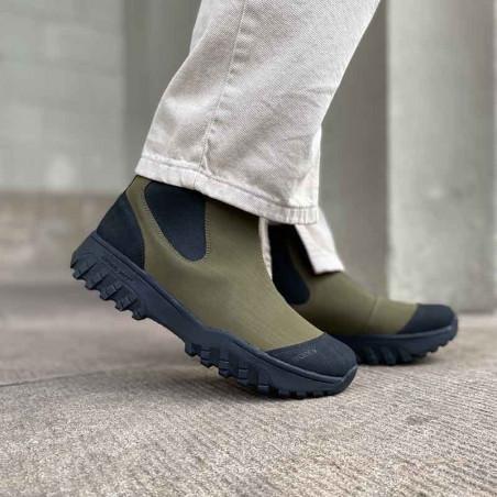 Woden Gummistøvler, Magda Rubber Track, Dark Olive/Black, korte gummistøvler til kvinder på model