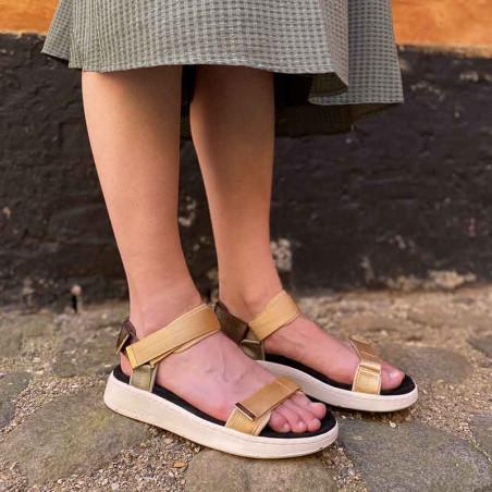 Woden Sandaler, Line, Multi, sandaler til kvinder, komfort sandaler med velcro på model