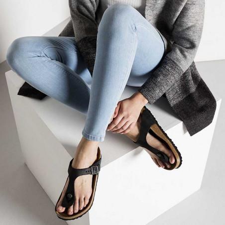 Birkenstock Sandaler, Gizeh Oiled, Black Sandaler i skind - regular fit - gizeh sandal sort look