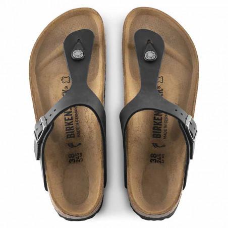 Birkenstock Sandaler, Gizeh Oiled, Black Sandaler i skind - regular fit - gizeh sandal sort top