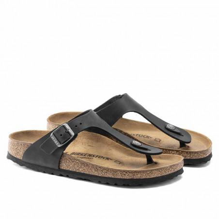 Birkenstock Sandaler, Gizeh Oiled, Black Sandaler i skind - regular fit - gizeh sandal sort side