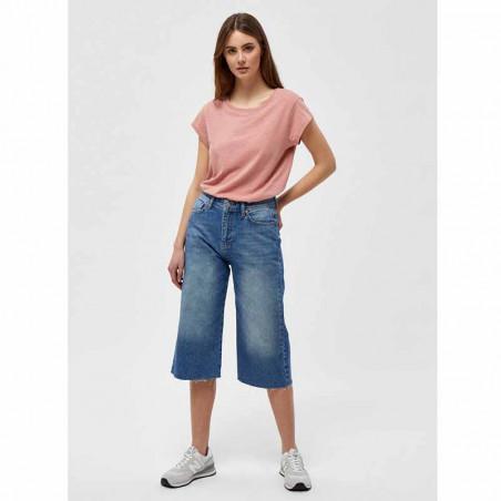 Minus T-shirt, Leti Tee, Old Rose Melange Basis t-shirt i rosa fuld figur