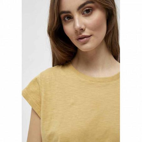 Minus T-shirt, Leti, Prairie Sand Basis T-shirt i bomuld detalje