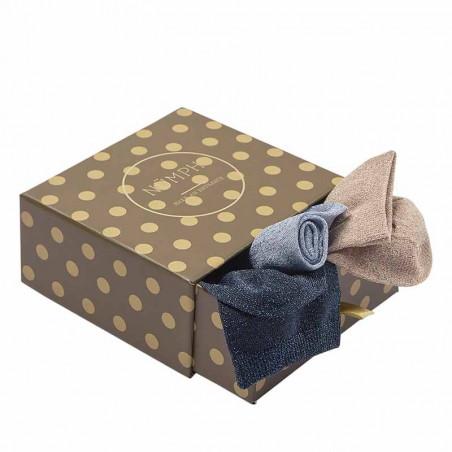 Nümph Strømper, Nukingcity 3-pack, Navy/lys blå/sand Numph ankelsokker med glitter i prikket gaveæske