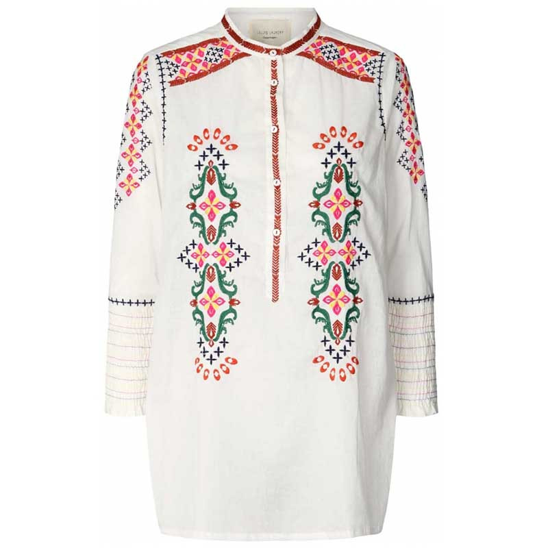 Lollys Laundry Bluse, Porto Shirt, Creme Lollys Laundry broderet tunika