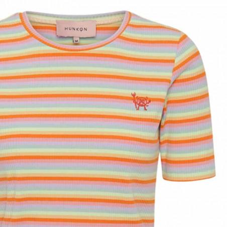 Hunkøn T-shirt, Felipa, Sunrise Hunkon multistribet bluse detalje