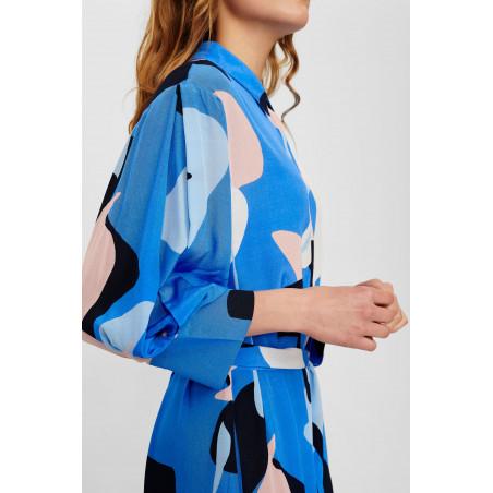 Nümph Kjole, Nucora, Ultramarine Numph kjole hverdagskjole festkjole  skjortekjole med print