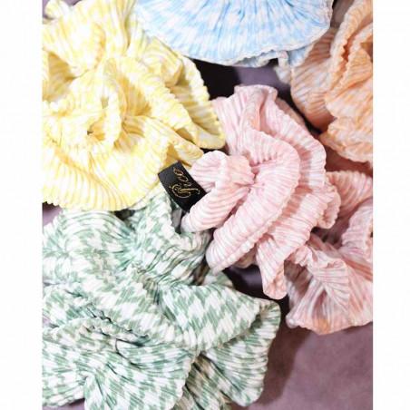 Pico Hårelastik, Flæse Chevron-Scrunchie, Yellow, scrunchie fra pico, pico tilbehør, håraccessories, farver