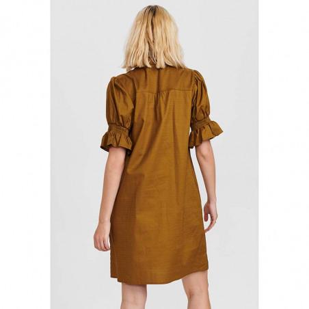 Nümph Kjole, Nucharity Dress, Breen Numph skjortekjole, hverdagskjole på model set bagfra