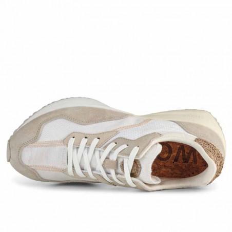 Woden Sneakers, Rose Textile, Whisper White/Silver Lining, gummisko, sneakers fra woden, hvide sko, korksål, oppefra