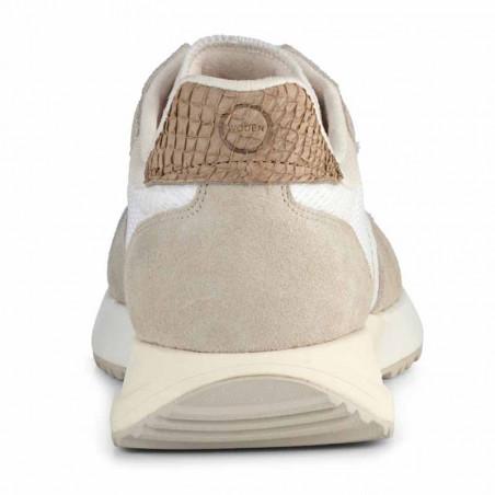 Woden Sneakers, Rose Textile, Whisper White/Silver Lining, gummisko, sneakers fra woden, hvide sko, korksål, bagfra