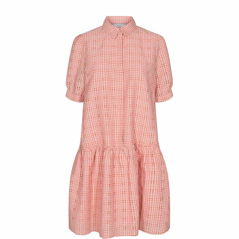 Nümph Kjole, Nucyrille, Evening Sand, lyserød kjole, ternet kjole, kjole med skørt, kjole fra Numph