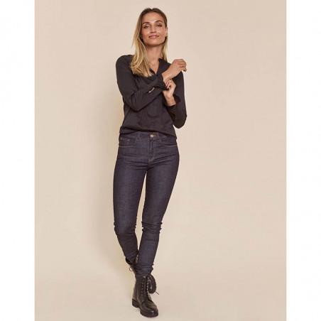 Mos Mosh Jeans, Alli Cover, Dark Blue, denim jeans, stretch jeans, blå bukser, detalje