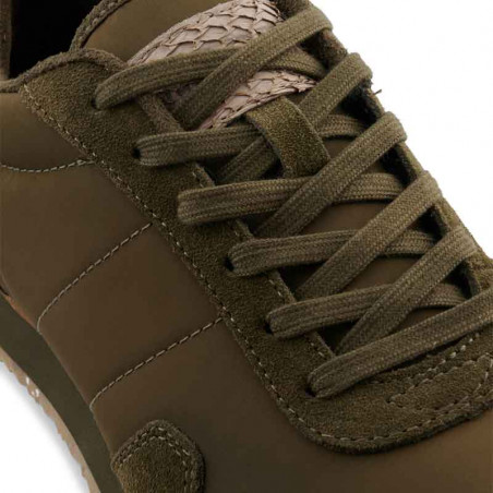 Woden Sneakers, Nora III Leather, Dark Olive detalje