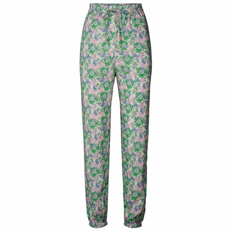 Lollys Laundry Bukser, Mona, Green Flower Print