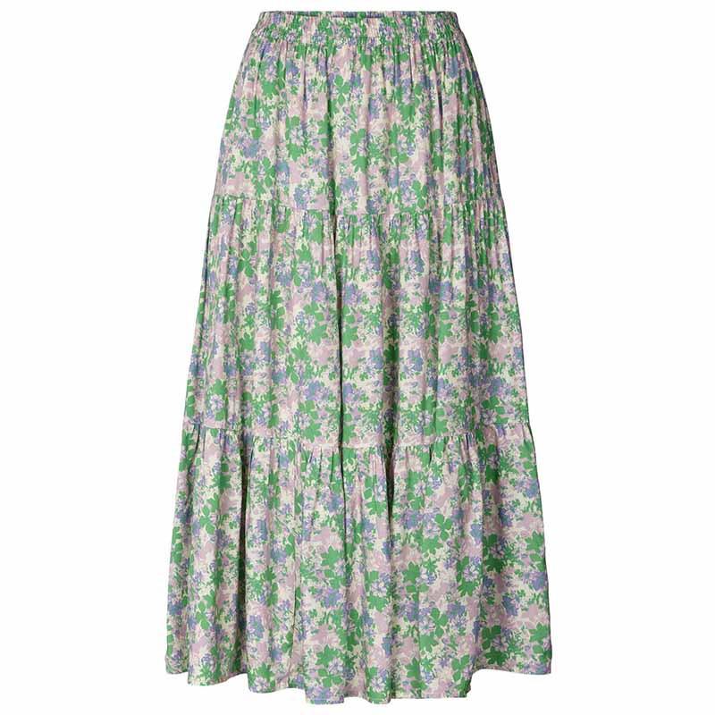 Lollys Laundry Nederdel, Morning, Green Flower Print
