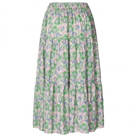 Lollys Laundry Nederdel, Morning, Green Flower Print bagfra