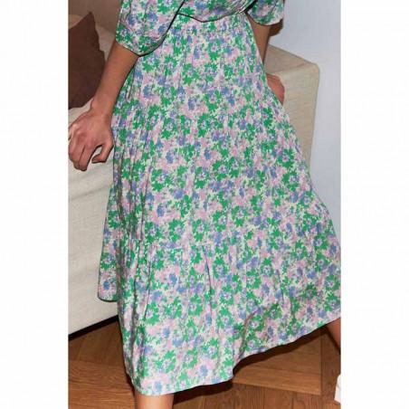 Lollys Laundry Nederdel, Morning, Green Flower Print - viscose nederdel