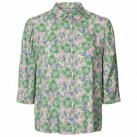 Lollys Laundry Skjorte, Bono, Green Flower Print