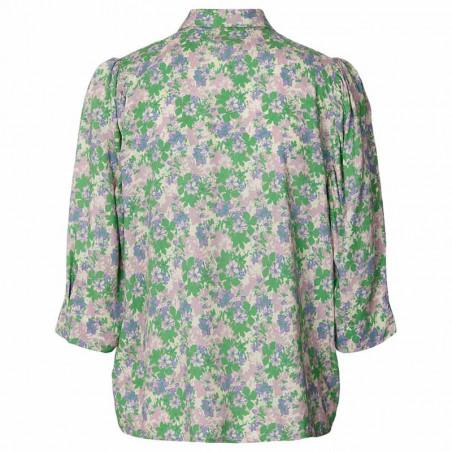 Lollys Laundry Skjorte, Bono, Green Flower Print bagfra
