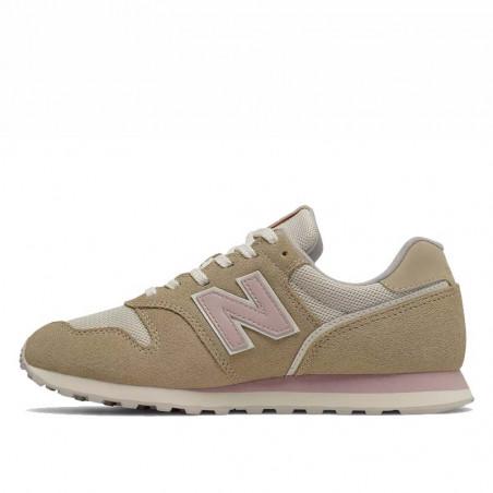 New Balance Sneakers, WL373, Covert Green/Space Pink, sandfarvet, mesh og ruskind, detalje