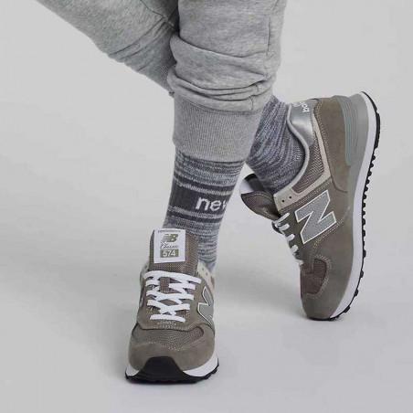 New Balance Sneakers, WL574, Grey/White, grå gummisko, refleks, ruskind, snude