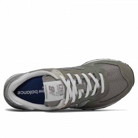 New Balance Sneakers, WL574, Grey/White, grå gummisko, refleks, ruskind, oppefra