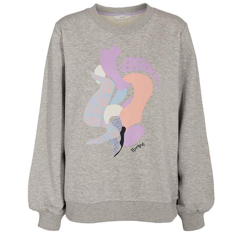 Nümph Sweat, Nucolby, Light Grey Mel Numph sweatshirt med print