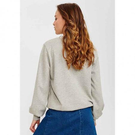 Nümph Sweat, Nucolby, Light Grey Mel Numph sweatshirt med print på model set bagfra
