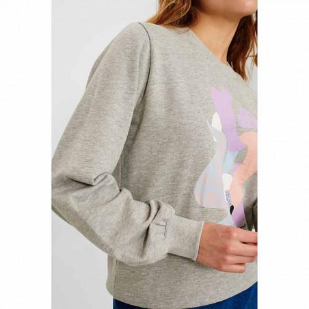 Nümph Sweat, Nucolby, Light Grey Mel Numph sweatshirt med print detalje