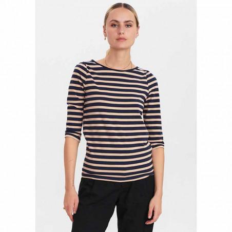 Nümph T-Shirt, Nudaia T-Shirt, Ginger Root numph stribet t-shirt på model