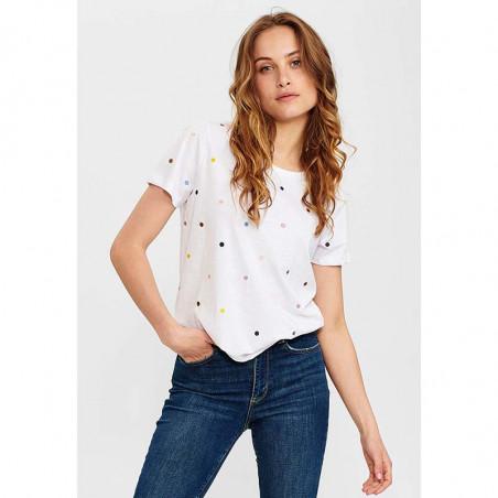 Nümph T-Shirt, Nucruz Tee, Bright White Numph t-shirt bluse på model