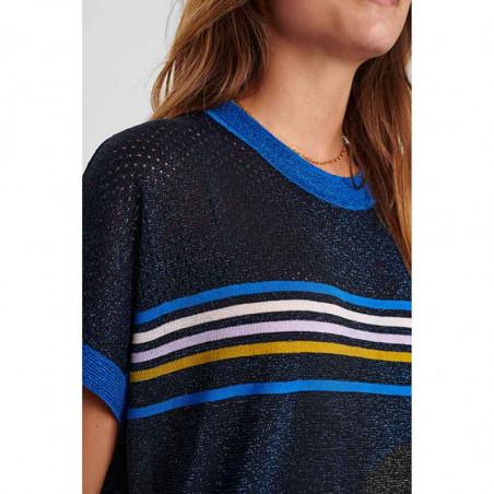 Nümph Bluse, Nucarwen Darlene, Dark Sapphire numph strik pullover med lurex på model detalje