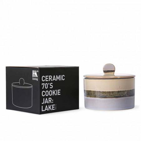 HK Living Krukke, Ceramic 70's Cookie Jar, Lake, keramik, stentøj, retro, kasse