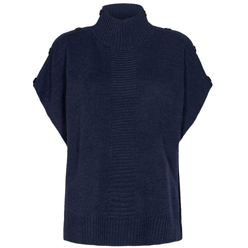 Nümph Strik, Nudarlene Button, Dark Sapphire Numph pullover sweater uden ærmer
