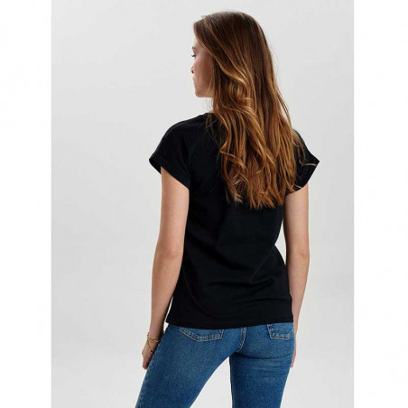 Nümph T-Shirt, Nubeverly T-Shirt, Caviar Numph top i sort på model set bagfra