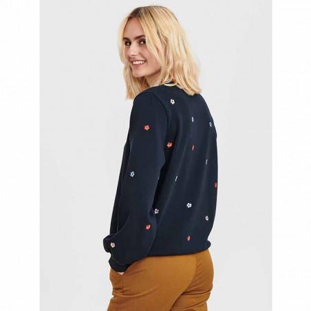 Nümph Sweat, Nubrittany Sweat, Dark Sapphire numph sweatshirt - på model set bagfra