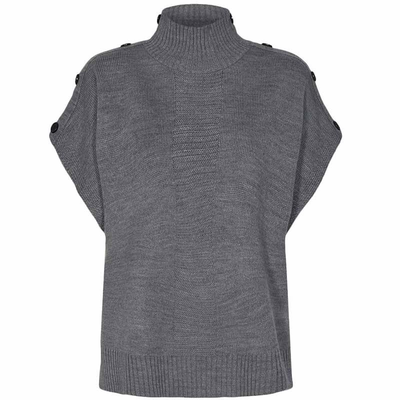 Nümph Strik, Nudarlene Button, Medium Grey Mel Numph pullover strik vest